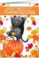 Great Niece's 1st Thanksgiving Black Cat and Pumpkins card