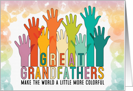 for Great Grandpa Birthday Colorful Hands Raised card