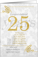 25 Years in Business Gold and Silver Custom NO REAL GLITTER card
