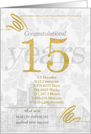 15 Years in Business Gold and Silver Custom NO REAL GLITTER card