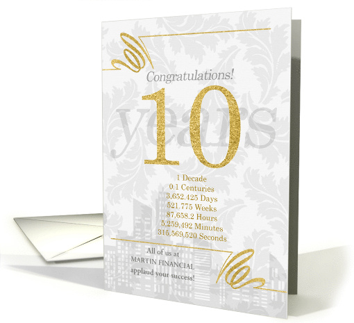 10 Years in Business Elegant Gold and Silver Custom Name card