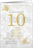 10 Years in Business Gold and Silver Custom NO REAL GLITTER card