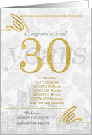 30 Years in Business Gold and Silver Custom NO REAL GLITTER card