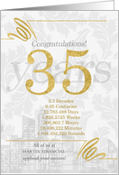 35 Years in Business Gold and Silver Custom NO REAL GLITTER card