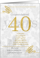 40 Years in Business Gold and Silver Custom NO REAL GLITTER card