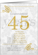 45 Years in Business Gold and Silver Custom NO REAL GLITTER card