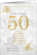50 Years in Business Gold and Silver Custom NO REAL GLITTER card