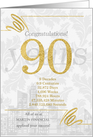 90 Years in Business Gold and Silver Custom NO REAL GLITTER card
