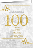 100 Years in Business Gold and Silver Custom NO REAL GLITTER card