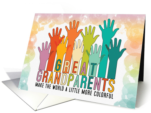 Great Grandparents Thank You with Colorful Chlidren's Hands card