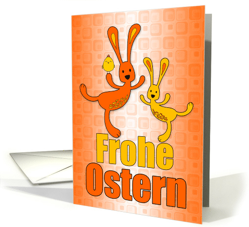German Easter Orange and Yellow Easter Bunnies for Kids card (1602716)