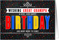 for Great Grandpa Colorful Chalkboard Birthday Typography card