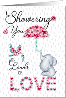 Mother's Day Showering You with Love Elephant and Spring Flowers card