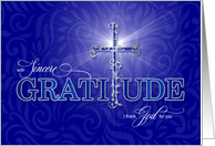 Christian Thank You Blue and Silver Cross Graditude Text card
