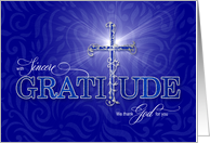 Christian WE Thank You Blue and Silver Cross Graditude Text card