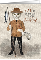 Fishing Themed Funny Birthday with Cat Fisherman in Hipster Style card
