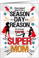 for a Super Mom on Mother's Day FROM US Comic Book Theme card