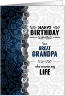 for Great Grandpa Birthday Blue Paisley with Buttons card