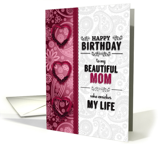 for Mom Birthday Pink Hearts and Paisley card (1629304)
