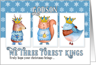 for Young Godson Christmas Three Forest Kings Cute Animals card