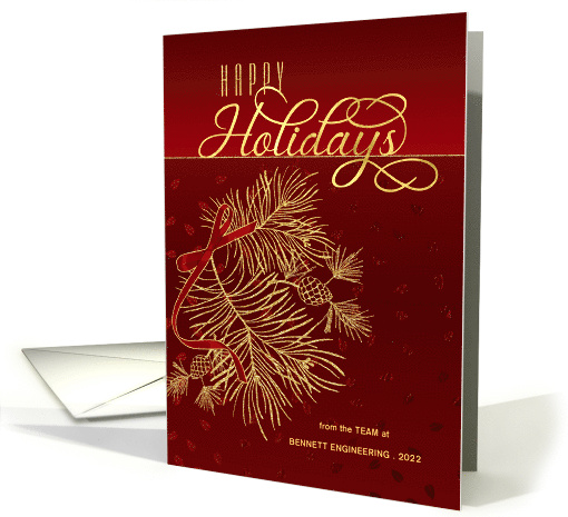 Happy Holidays Red and Golden Pines with Business Name card (1645832)