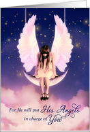 Get Well Psalms 91:11 Scripture Angel Swings on the Moon card