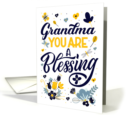 Birthday Grandma You are a Blessing Blue Yellow Botanicals card