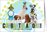 Dog Agility Congratulations Five Dogs Celebrating with Name Blank card