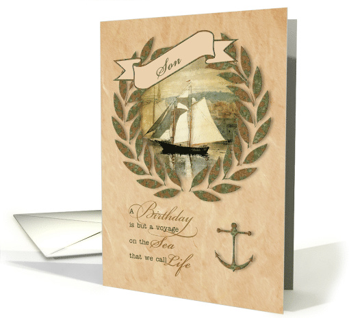 For Son on His Birthday Sailing Nautical Theme card (430198)