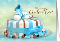 Will you be my Godmother? Blue Polka Dot card