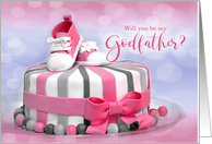 WIll You Be My Godfather? Baby Girl Pink Polka Dots card