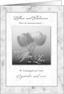 Custom Civil Union Announcement Silver Tulips card