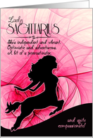 Sagittarius Birthday for Her Pink and Black Feminine Zodiac card