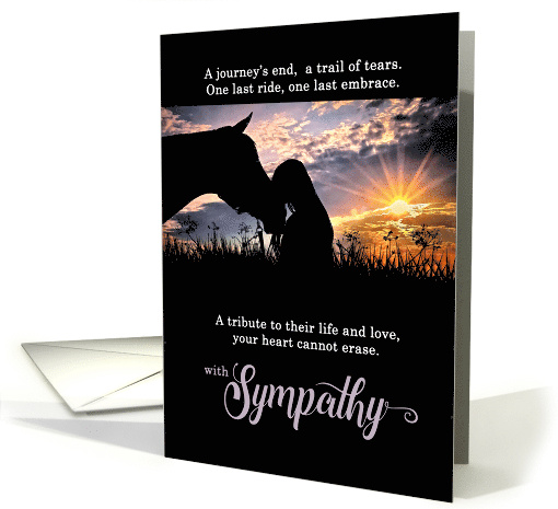 Pet Sympathy Loss of a Horse Earthy Browns with Red Heart card