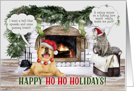 Christmas Greetings for Animal Services Veterinarian Santa Dog card