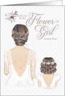 Flower Girl Request Wedding Bride with Colorful Bouquet Custom card