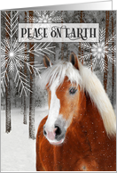 Peace on Earth White Horse with Frosty Blue card
