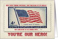 Confederate Memorial Day You're Our Hero U.S. Flag card