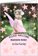 Adoption Announcement in Pink Stripes and Polka Dots with Photo card