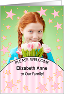 We Adopted in Pink with Girl's Photo Stripes and Polka Dots card