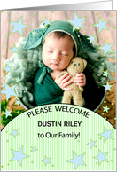Birth Announcement with Baby's Photo Blue and Green Teddy Bear card