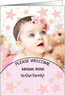 It's a Girl! Birth Announcement in Pink and Green with Baby's Photo card