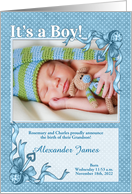 Announcing Our Grandson Blue Polka Dot with Photo card