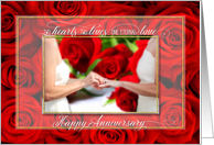 Anniversary for Lesbian Couple with Red Roses and Wedding Ring card
