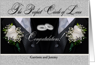 Custom Two Grooms Gay Congratulations with Rings and Tuxes card