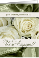 Engagement Party Invitation White Roses and Sage Green card