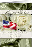 Military Wedding Invitation White Roses and Sage Green card