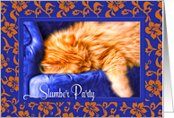 Slumber Party Invitation with Orange Tabby Cat and Royal Blue card
