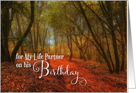 for HIM Life Partner Birthday Woodland Scenic Path card