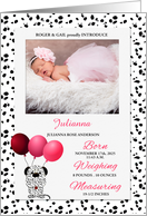 Pink Dalmatian Baby Birth Announcement with Photo card